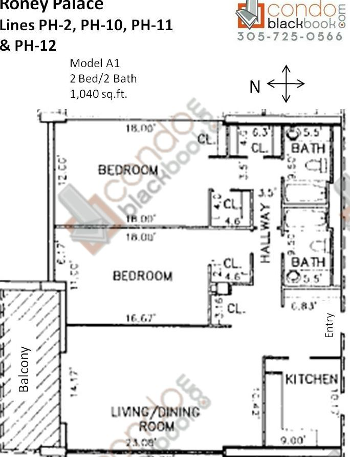 Floor plan for Roney Palace South Beach Miami Beach, model A1, line PH-2, PH-10, PH-11, PH-12, 2/2 bedrooms, 1,040 sq ft