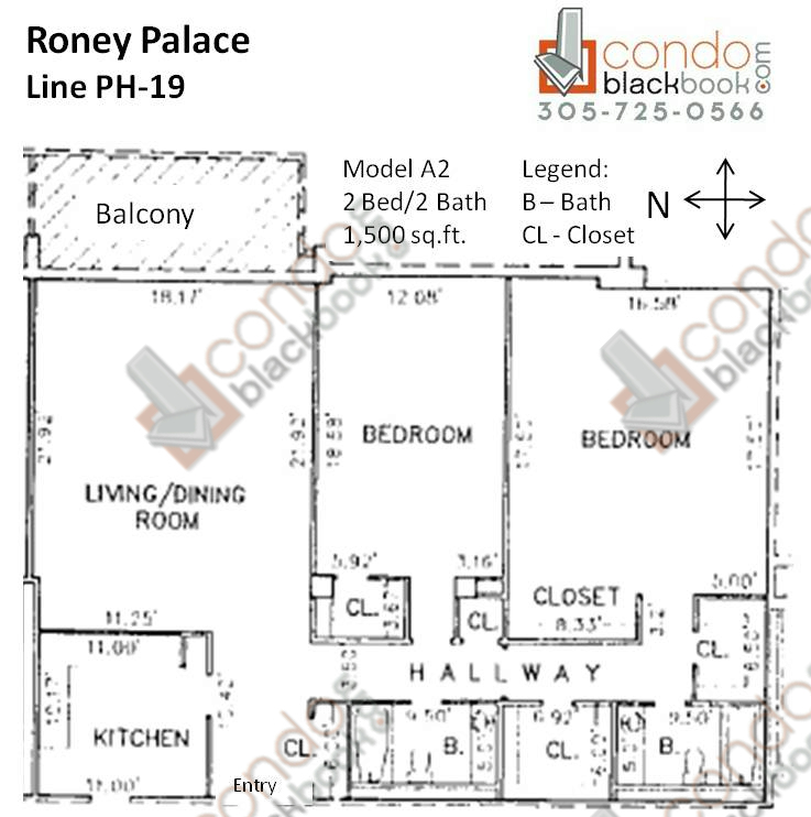 Floor plan for Roney Palace South Beach Miami Beach, model A2, line PH-19, 2/2 bedrooms, 1,500 sq ft