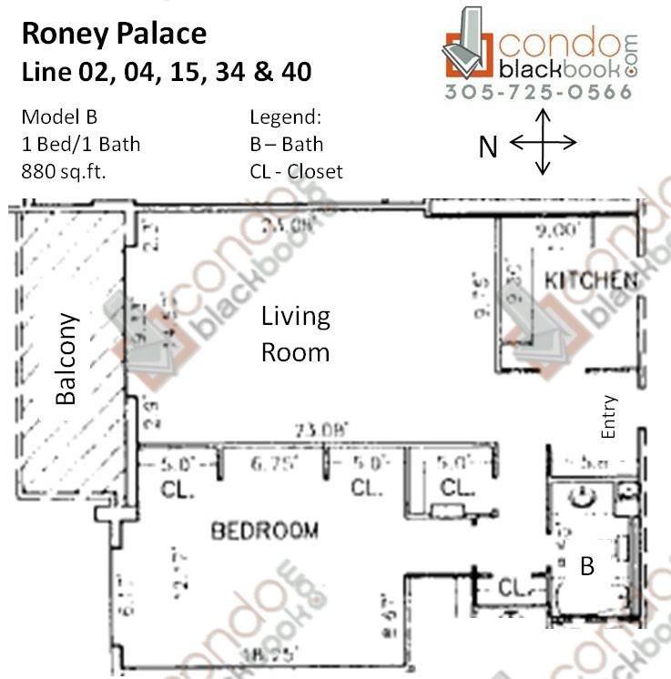 Floor plan for Roney Palace South Beach Miami Beach, model B, line 02, 04, 15, 34, 40, 1/1 bedrooms, 880 sq ft