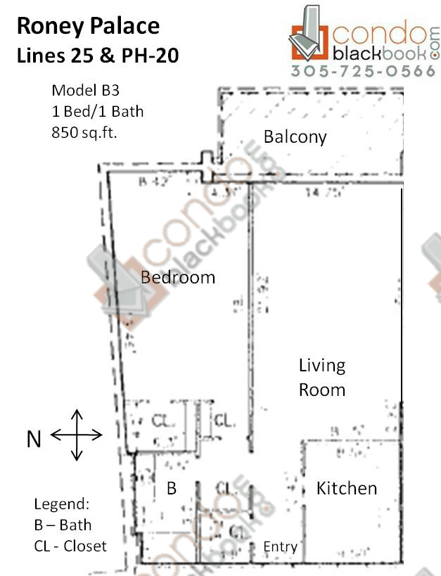 Floor plan for Roney Palace South Beach Miami Beach, model B3, line 25, PH-20, 1/1 bedrooms, 850 sq ft