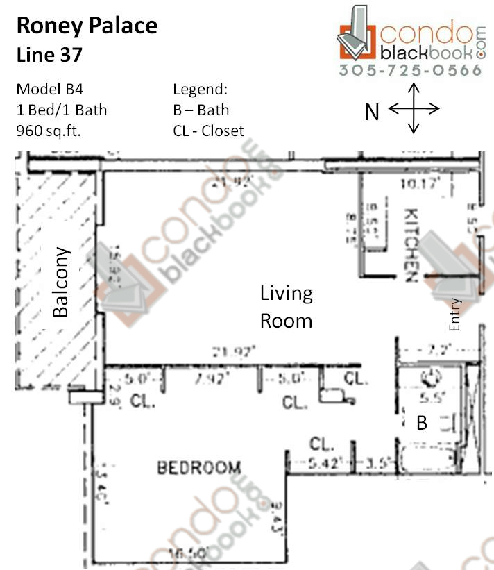 Floor plan for Roney Palace South Beach Miami Beach, model B4, line 37, 1/1 bedrooms, 960 sq ft