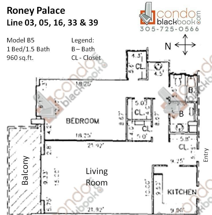 Floor plan for Roney Palace South Beach Miami Beach, model B5, line 03, 05, 16, 33, 39, 1/1.5 bedrooms, 960 sq ft