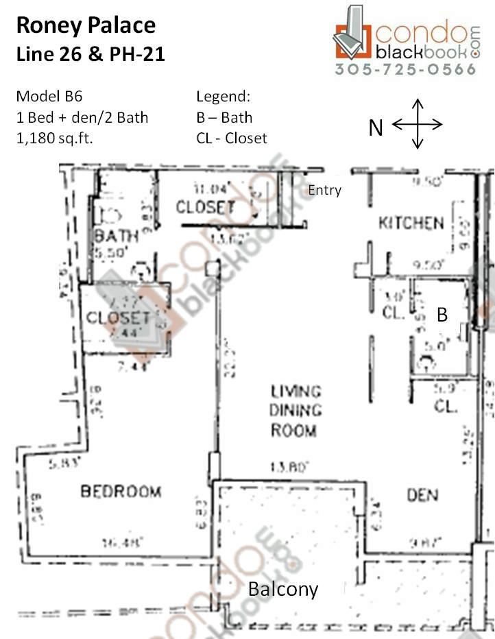 Floor plan for Roney Palace South Beach Miami Beach, model B6, line 26, PH-21, 1/2 + den bedrooms, 1,180 sq ft