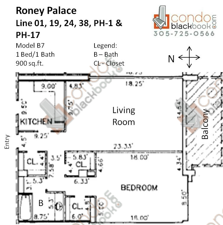 Floor plan for Roney Palace South Beach Miami Beach, model B7, line 01, 19, 24, 38, PH-1, PH-17, 1/1 bedrooms, 900 sq ft