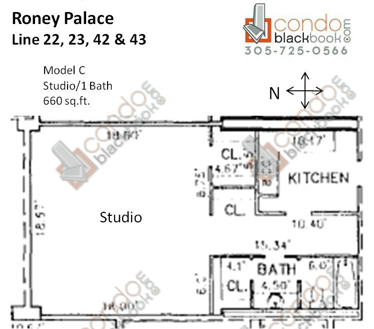 Floor plan for Roney Palace South Beach Miami Beach, model C, line 22, 23, 42, 43, Studio/1 bedrooms, 660 sq ft