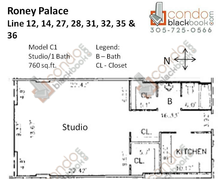 Floor plan for Roney Palace South Beach Miami Beach, model C1, line 12, 14, 27, 28, 31, 32, 35, 36, Studio/1 bedrooms, 760 sq ft
