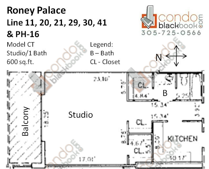 Floor plan for Roney Palace South Beach Miami Beach, model CT, line 11, 20, 21, 29, 30, 41, PH-16, Studio/1 bedrooms, 600 sq ft
