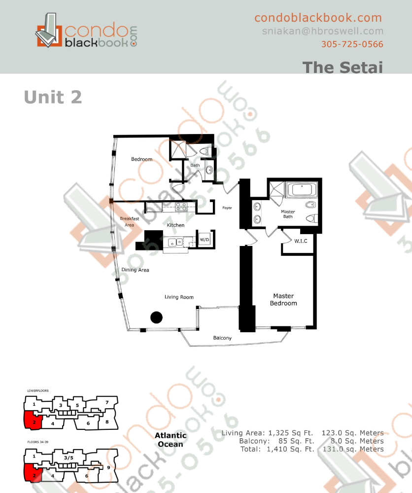 Floor plan for Setai South Beach Miami Beach, model Residence_02, line 02, 2/2 bedrooms, 1325 sq ft