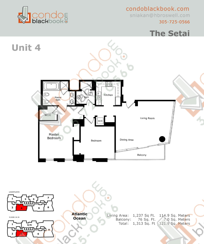 Floor plan for Setai South Beach Miami Beach, model Residence_04, line 04, 2/2 bedrooms, 1237 sq ft