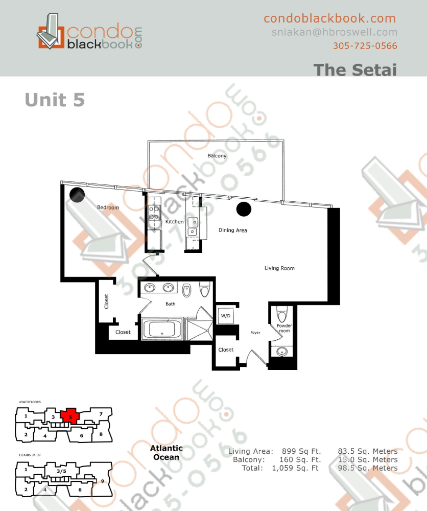 Floor plan for Setai South Beach Miami Beach, model Residence_05, line 05, 1/1+Powder Room bedrooms, 899 sq ft