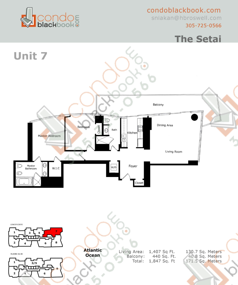 Floor plan for Setai South Beach Miami Beach, model Residence_07, line 07, 2/2 bedrooms, 1407 sq ft