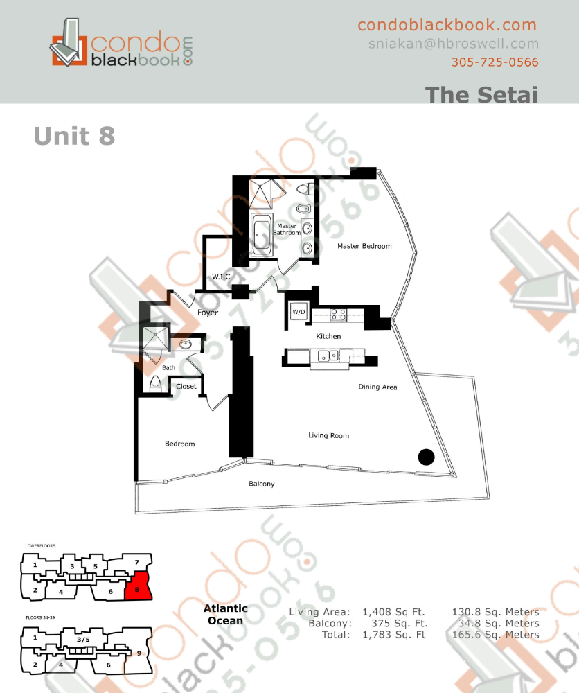 Floor plan for Setai South Beach Miami Beach, model Residence_08, line 08, 2/2 bedrooms, 1408 sq ft