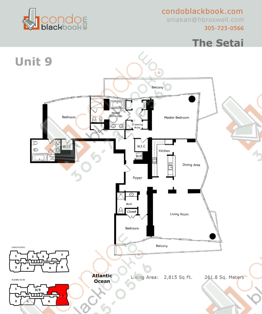 Floor plan for Setai South Beach Miami Beach, model Resindence_09, line 09, 3/3 bedrooms, 2,815 sq ft