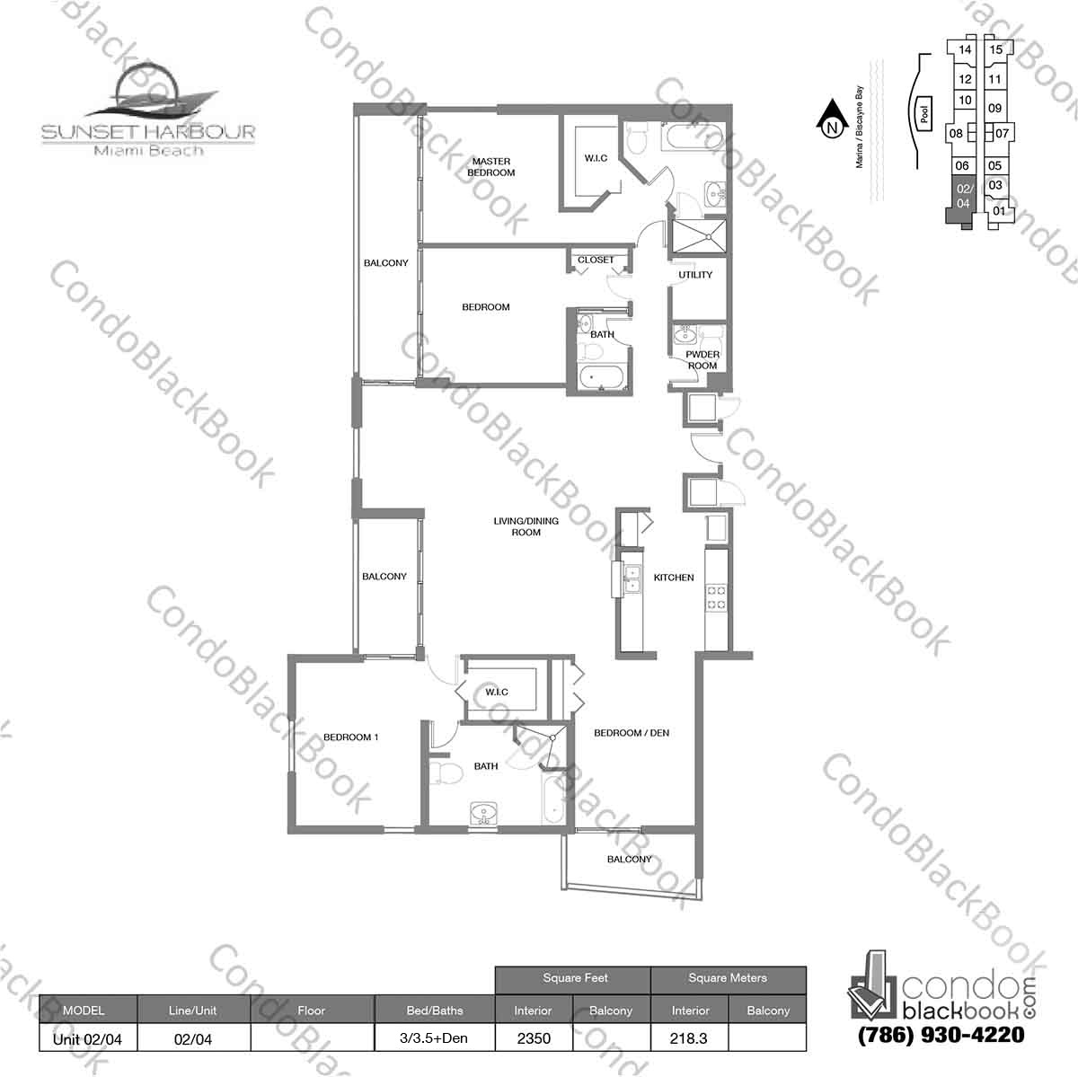 Floor plan for Sunset Harbour South Beach Miami Beach, model Unit 02/04, line 02/04N, 3 / 3 +Den bedrooms, 2350 sq ft