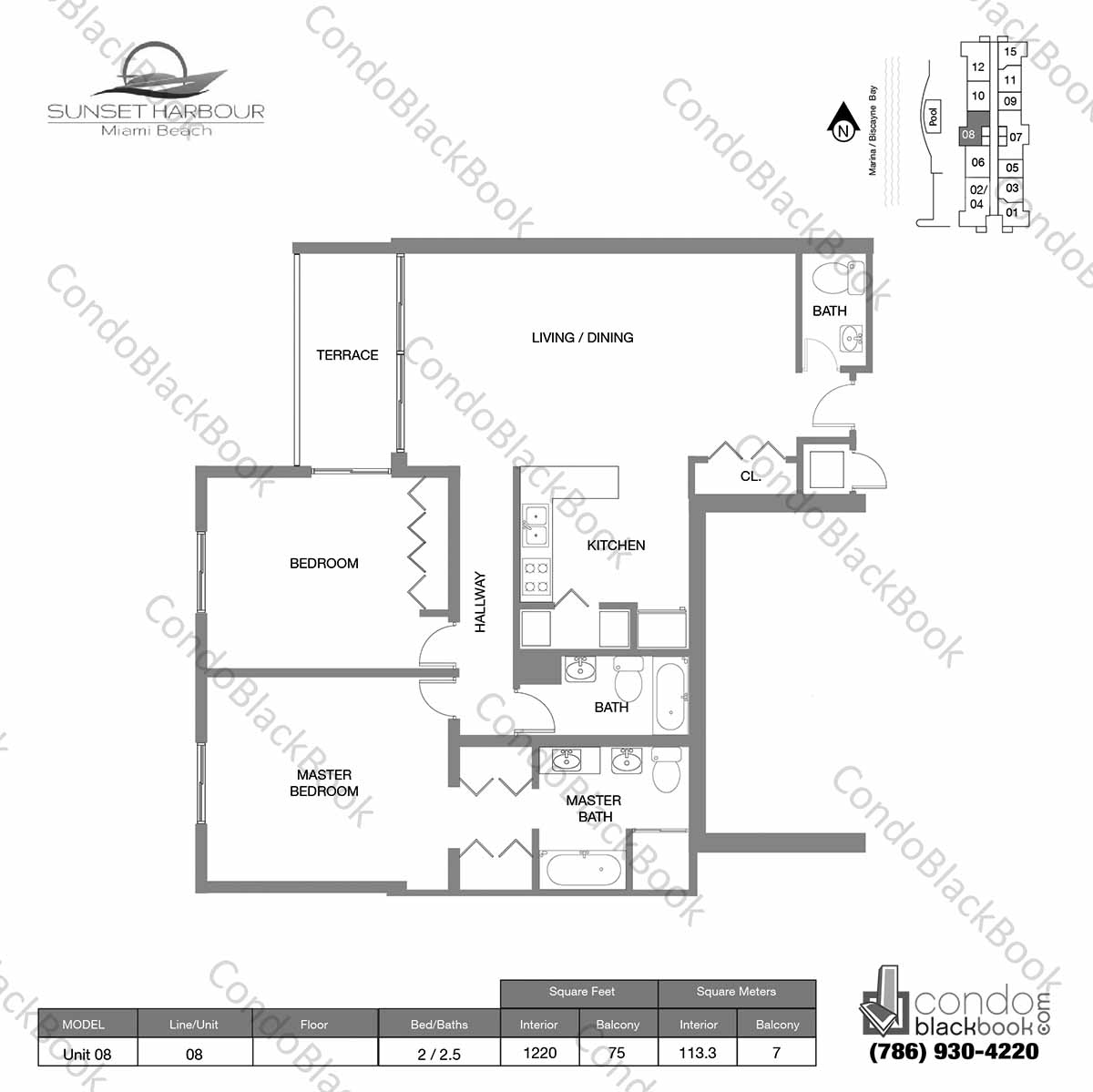 Floor plan for Sunset Harbour South Beach Miami Beach, model Unit 08, line 08S, 2 /2.5 bedrooms, 1220 sq ft