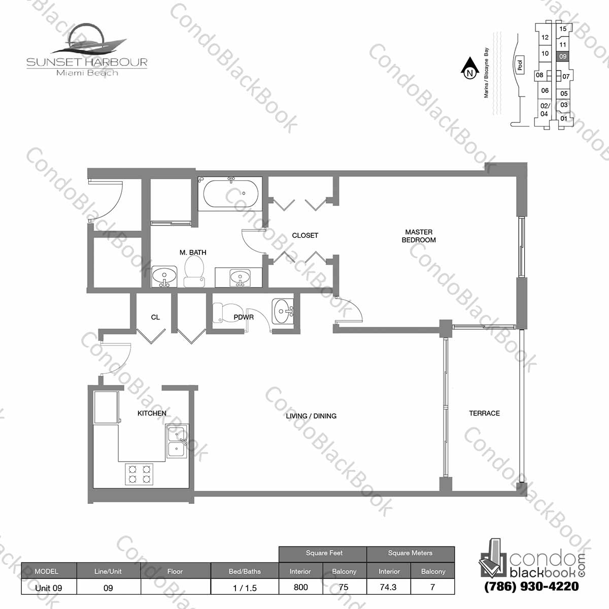 Floor plan for Sunset Harbour South Beach Miami Beach, model Unit 09, line 09S, 1  / 1.5 bedrooms, 800 sq ft
