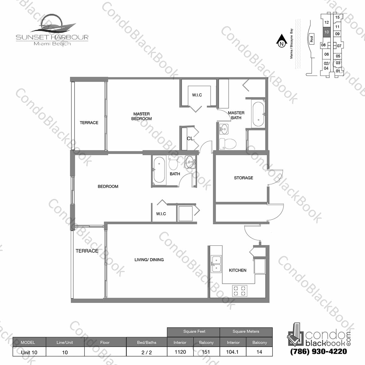 Floor plan for Sunset Harbour South Beach Miami Beach, model Unit 10, line 10S, 2 / 2 bedrooms, 1120 sq ft