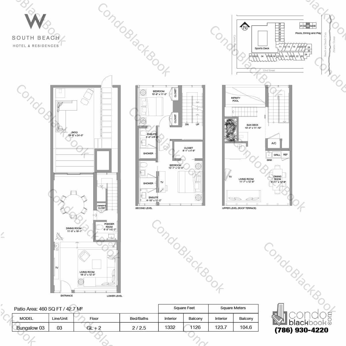 Floor plan for W South Beach South Beach Miami Beach, model Bungalow 03, line 03, 2 / 2.5 bedrooms, 1332 sq ft