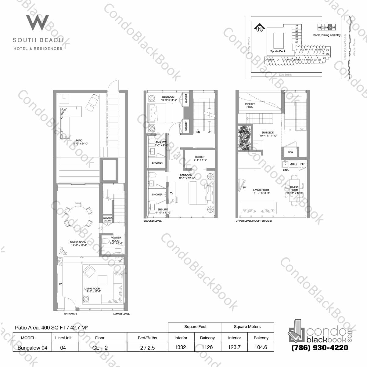 Floor plan for W South Beach South Beach Miami Beach, model Bungalow 04, line 04, 2 / 2.5 bedrooms, 1332 sq ft