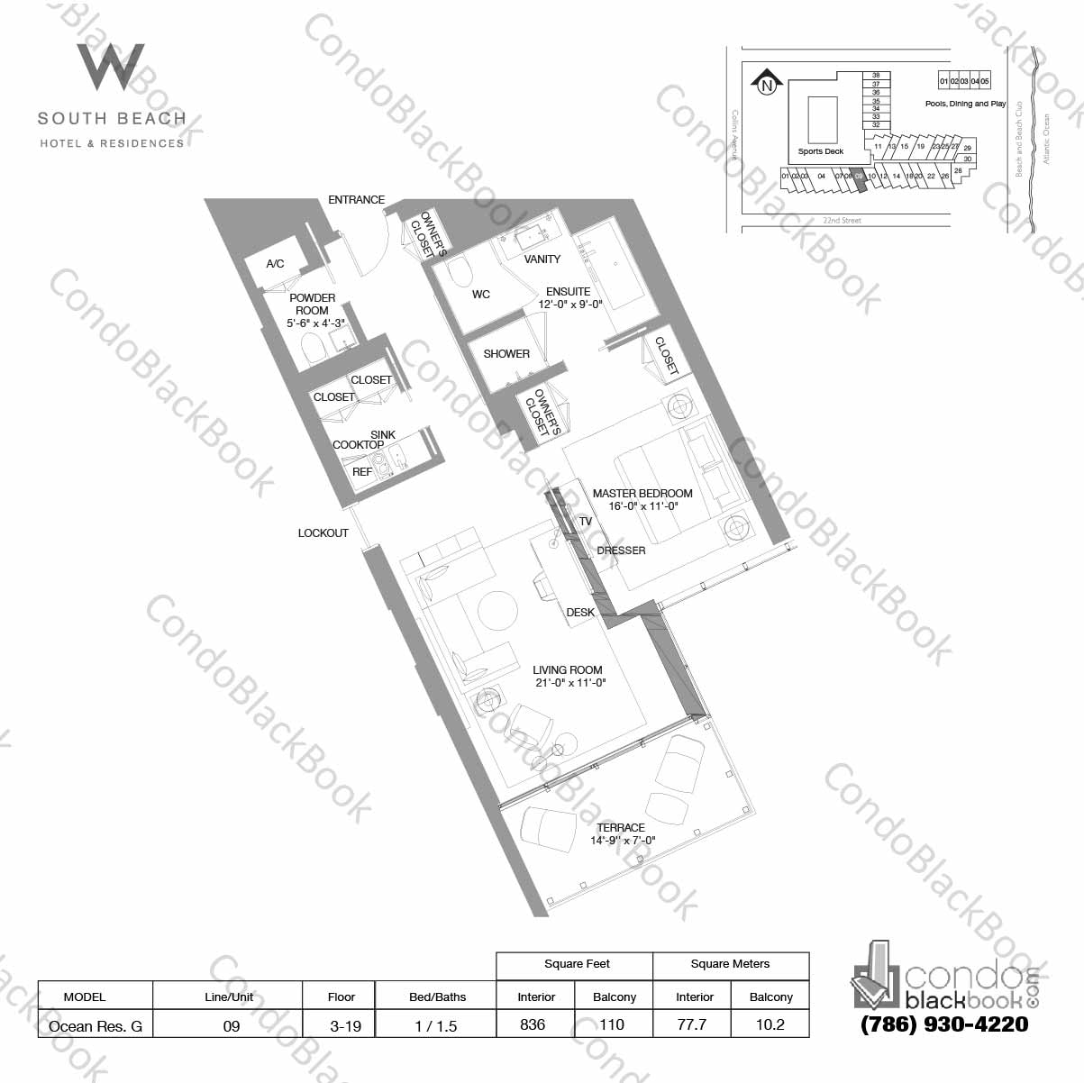 Floor plan for W South Beach South Beach Miami Beach, model Ocean Res. G, line 09, 1 / 1.5 bedrooms, 836 sq ft
