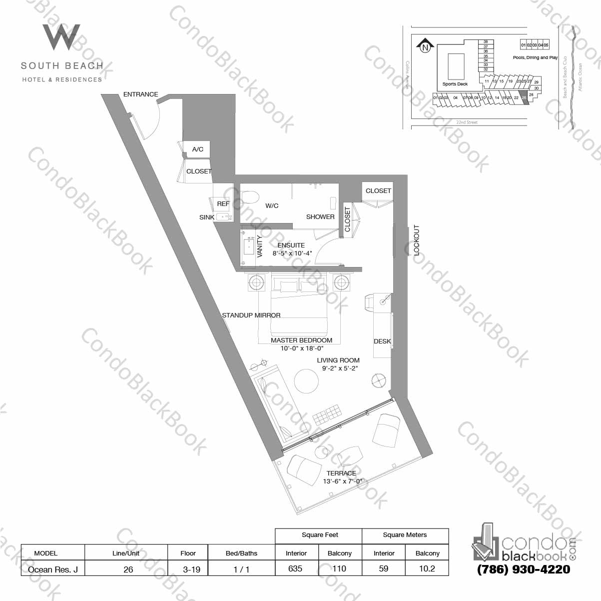 Floor plan for W South Beach South Beach Miami Beach, model Ocean Res. J, line 26, 1 / 1 bedrooms, 635 sq ft