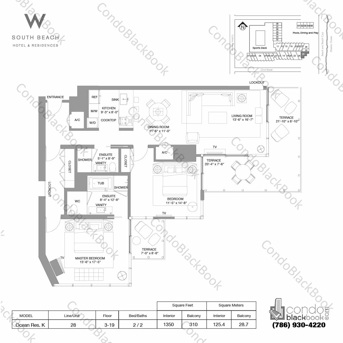 Floor plan for W South Beach South Beach Miami Beach, model Ocean Res. K, line 28, 2 / 2 bedrooms, 1350 sq ft