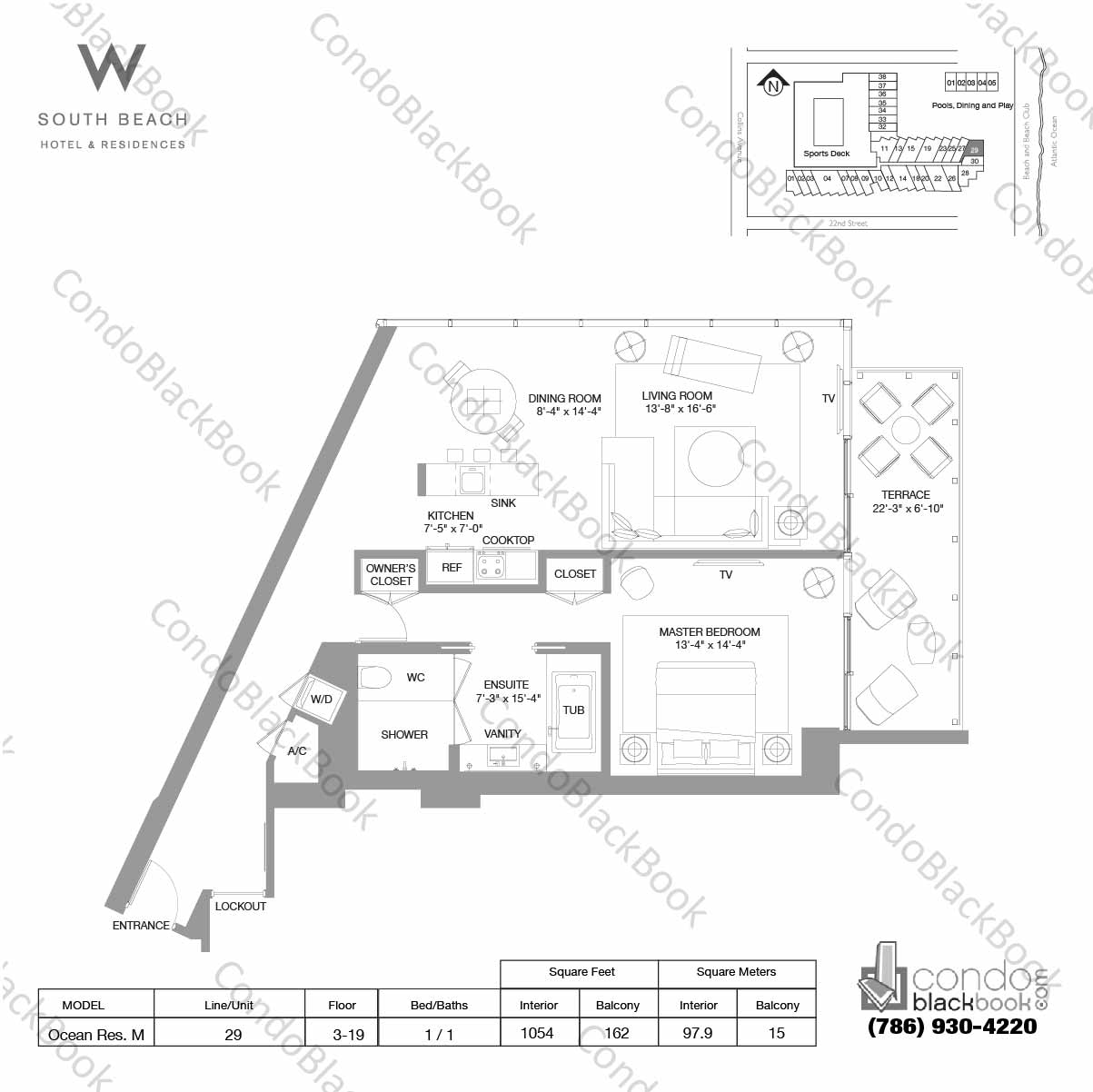 Floor plan for W South Beach South Beach Miami Beach, model Ocean Res. M, line 29, 1 / 1 bedrooms, 1054 sq ft