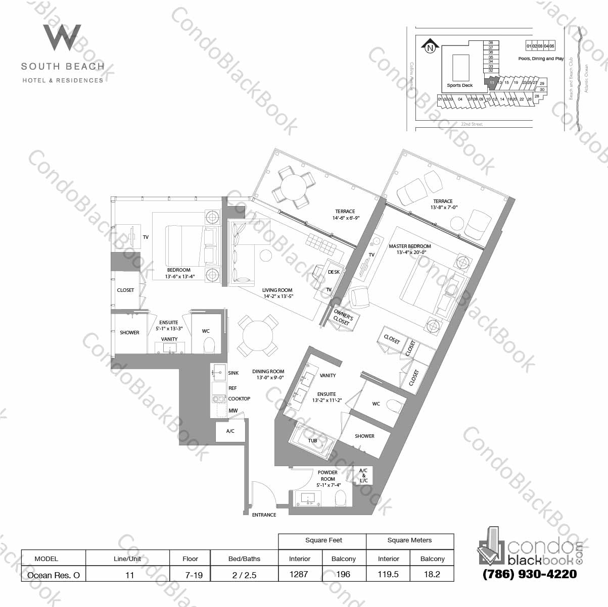 Floor plan for W South Beach South Beach Miami Beach, model Ocean Res. O, line 11, 2 / 2.5 bedrooms, 1287 sq ft