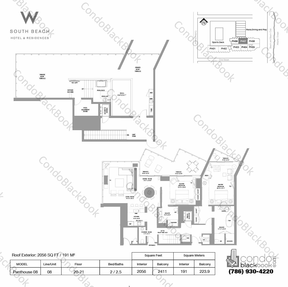 Floor plan for W South Beach South Beach Miami Beach, model Penthouse 08, line 08, 2 / 2.5 bedrooms, 2056 sq ft