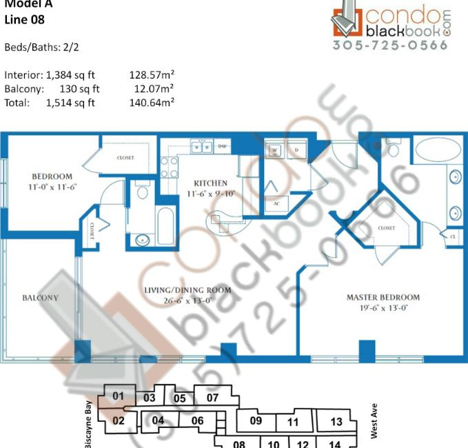 Floor plan for Waverly South Beach Miami Beach, model A, line 08, 2/2 bedrooms, 1,384 sq ft