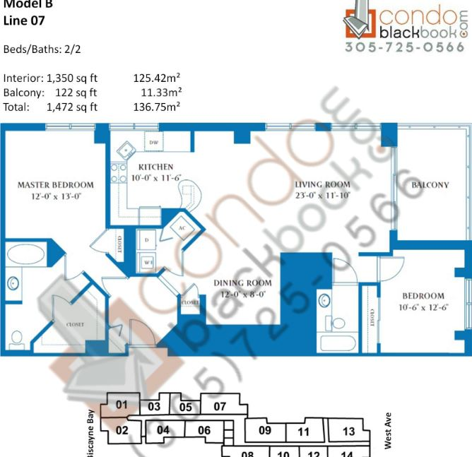 Floor plan for Waverly South Beach Miami Beach, model B, line 07, 2/2 bedrooms, 1,350 sq ft