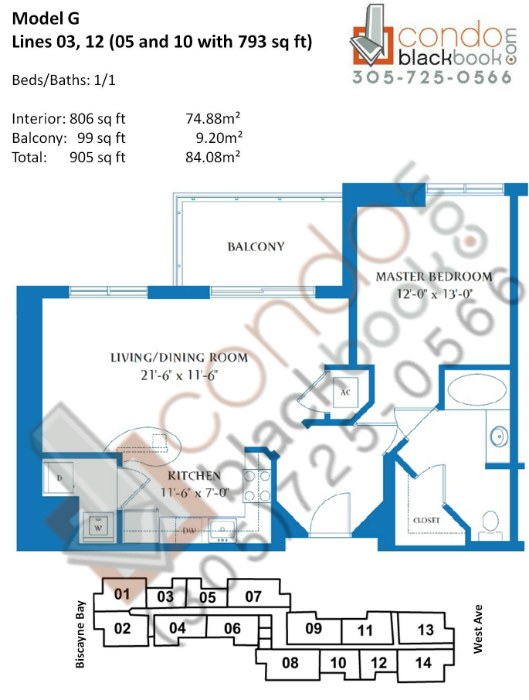 Floor plan for Waverly South Beach Miami Beach, model G, line 03,05,10,12, 1/1 bedrooms, 806 sq ft