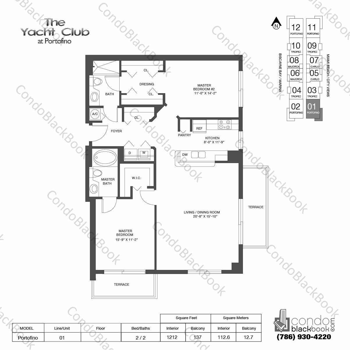 Floor plan for Yacht Club at Portofino South Beach Miami Beach, model Portofino , line 01, 2 / 2 bedrooms, 1212 sq ft