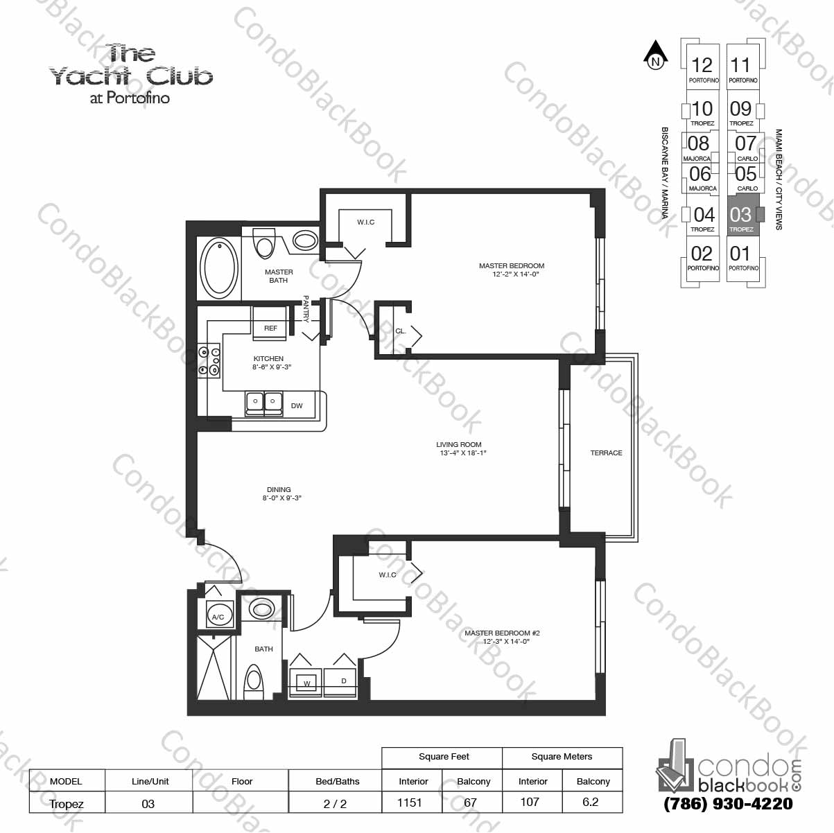 Floor plan for Yacht Club at Portofino South Beach Miami Beach, model Tropez, line 03,  2 / 2 bedrooms, 1151 sq ft