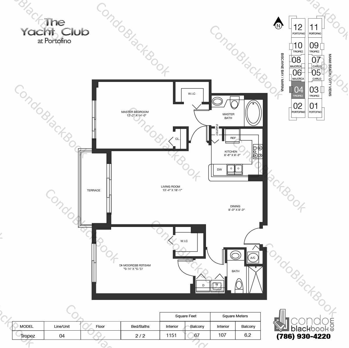 Floor plan for Yacht Club at Portofino South Beach Miami Beach, model Tropez, line 04,  2 / 2 bedrooms, 1151 sq ft