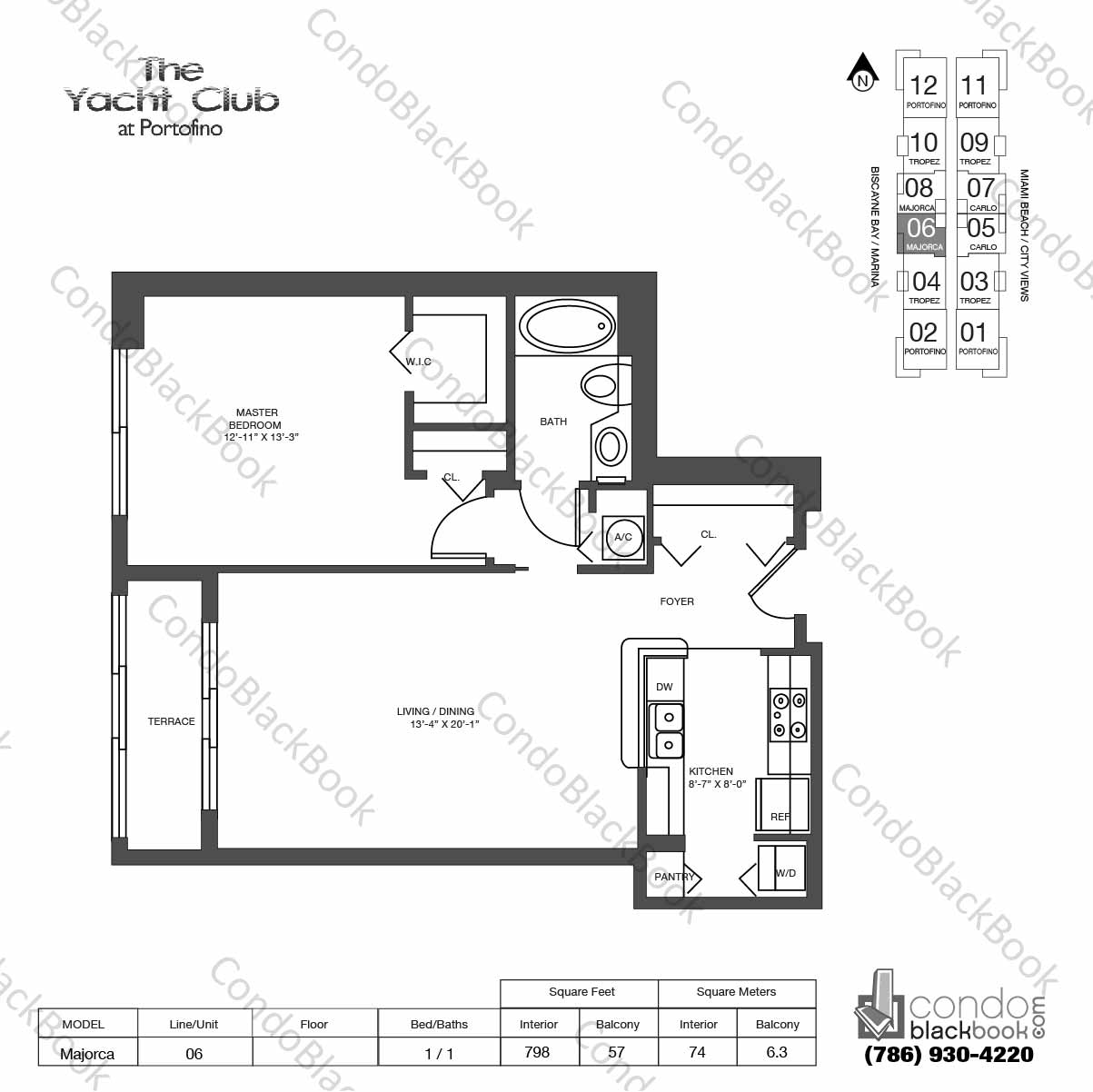 Floor plan for Yacht Club at Portofino South Beach Miami Beach, model Majorca, line 06,  1 / 1 bedrooms, 798 sq ft