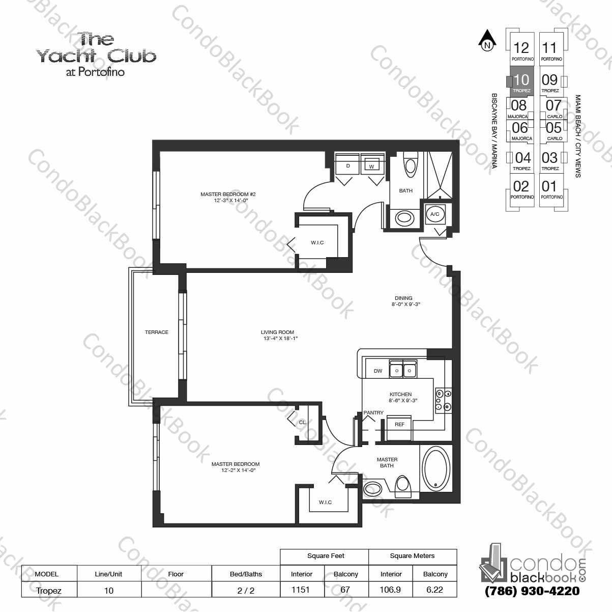 Floor plan for Yacht Club at Portofino South Beach Miami Beach, model Tropez, line 10, 2 / 2 bedrooms, 1151 sq ft