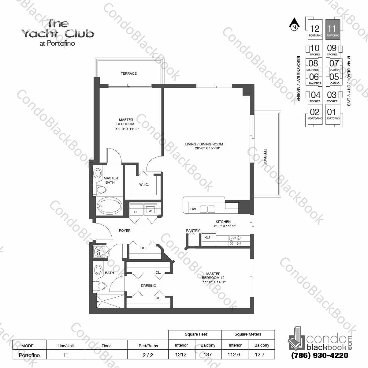 Floor plan for Yacht Club at Portofino South Beach Miami Beach, model Portofino , line 11, 2 / 2 bedrooms, 1212 sq ft