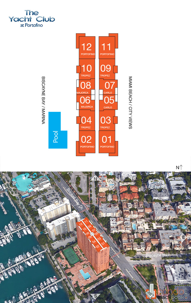 Yacht Club at Portofino floorplan and site plan