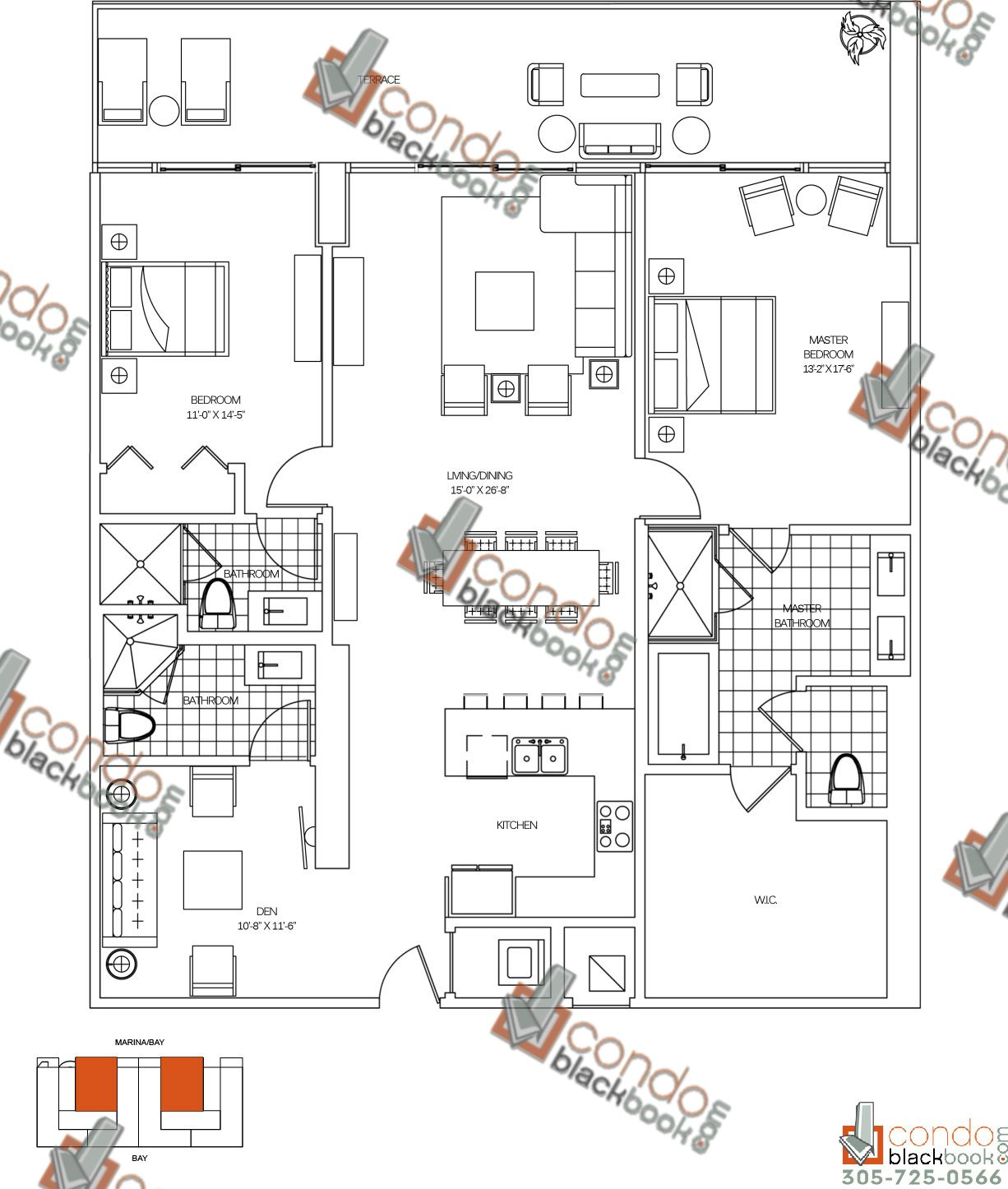 Floor plan for 400 Sunny Isles Sunny Isles Beach, model E, line 05, 2/3 bedrooms, 2,014 sq ft