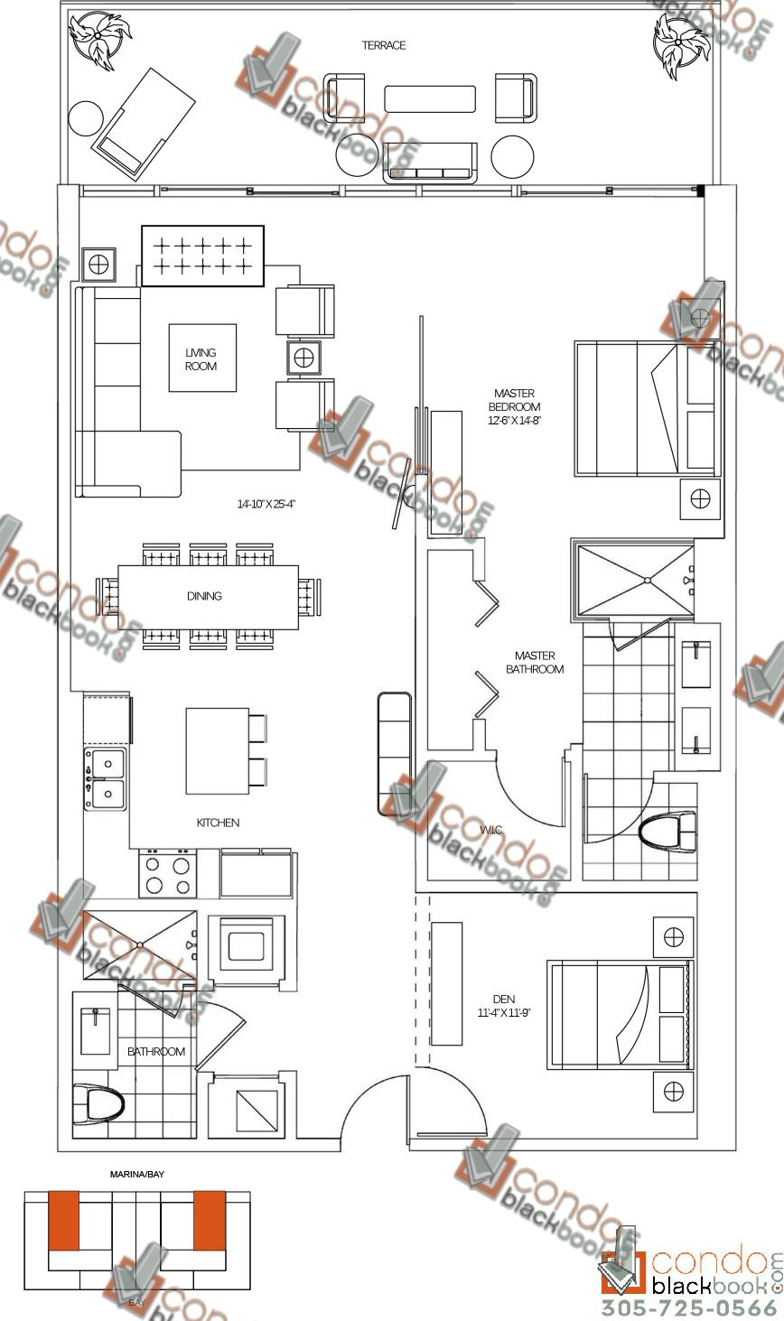 Floor plan for 400 Sunny Isles Sunny Isles Beach, model F, line 06, 1/2 bedrooms, 1,432 sq ft