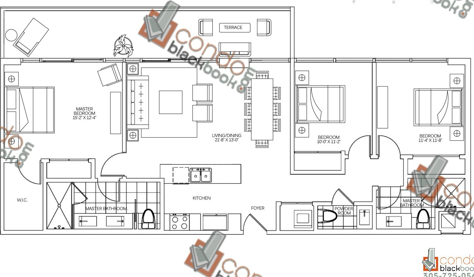 Floor plan for 400 Sunny Isles Sunny Isles Beach, model FLAT, line 07F, 3/2,5 bedrooms, 1,542 sq ft