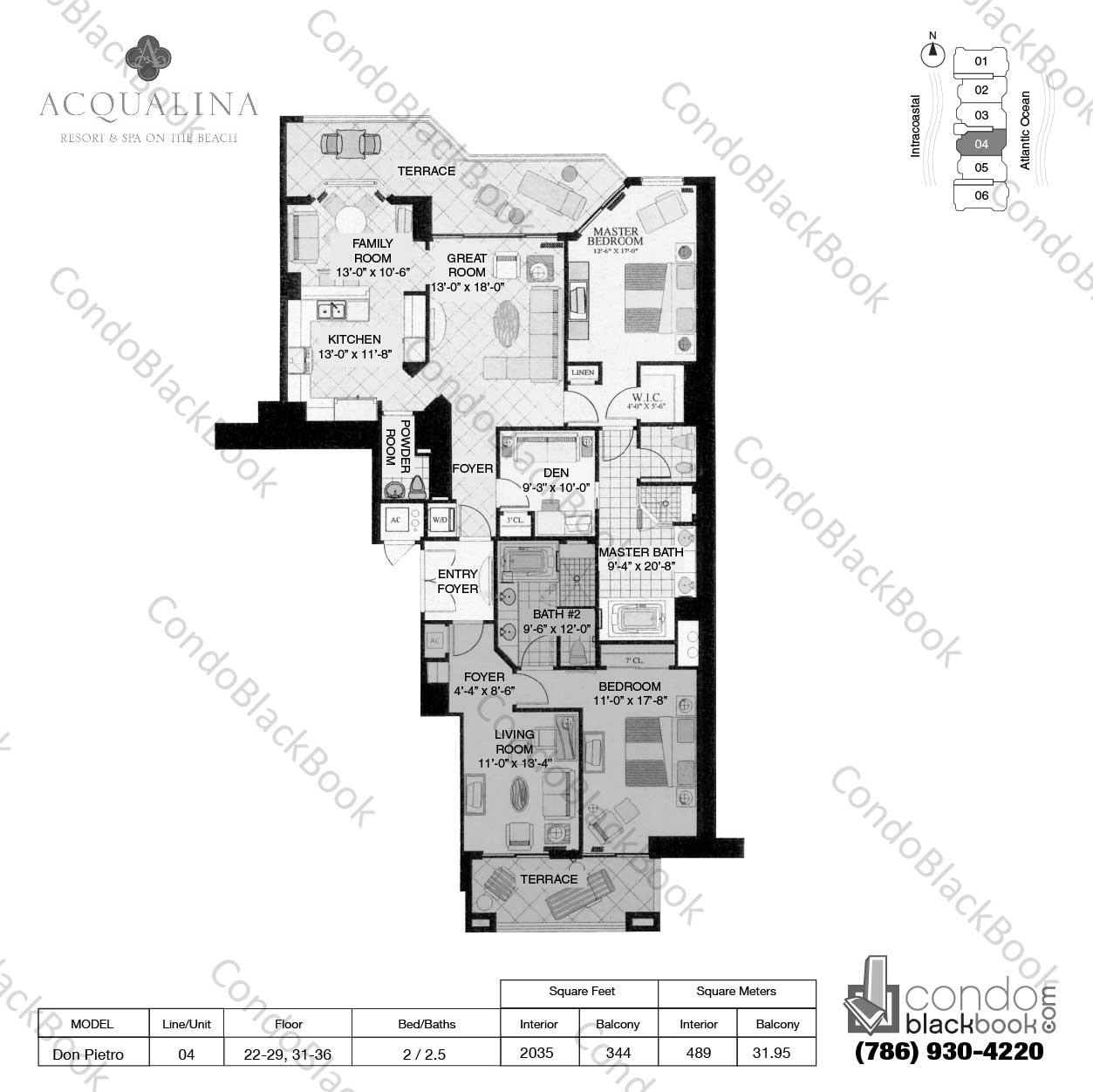 Floor plan for Acqualina Sunny Isles Beach, model Don Pietro, line 04, 2 / 2.5 bedrooms, 2035 sq ft