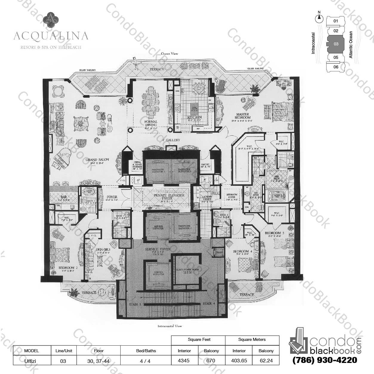 Floor plan for Acqualina Sunny Isles Beach, model Uffizi, line 03, 4 / 4 bedrooms, 4345 sq ft