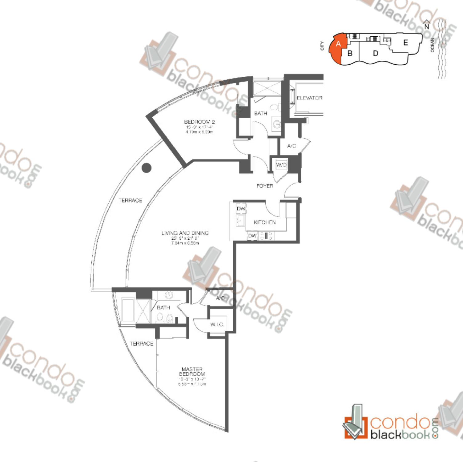 Floor plan for Chateau Beach Residences Sunny Isles Beach, model Residence A, line 01, 2/2 bedrooms, 1,557 sq ft
