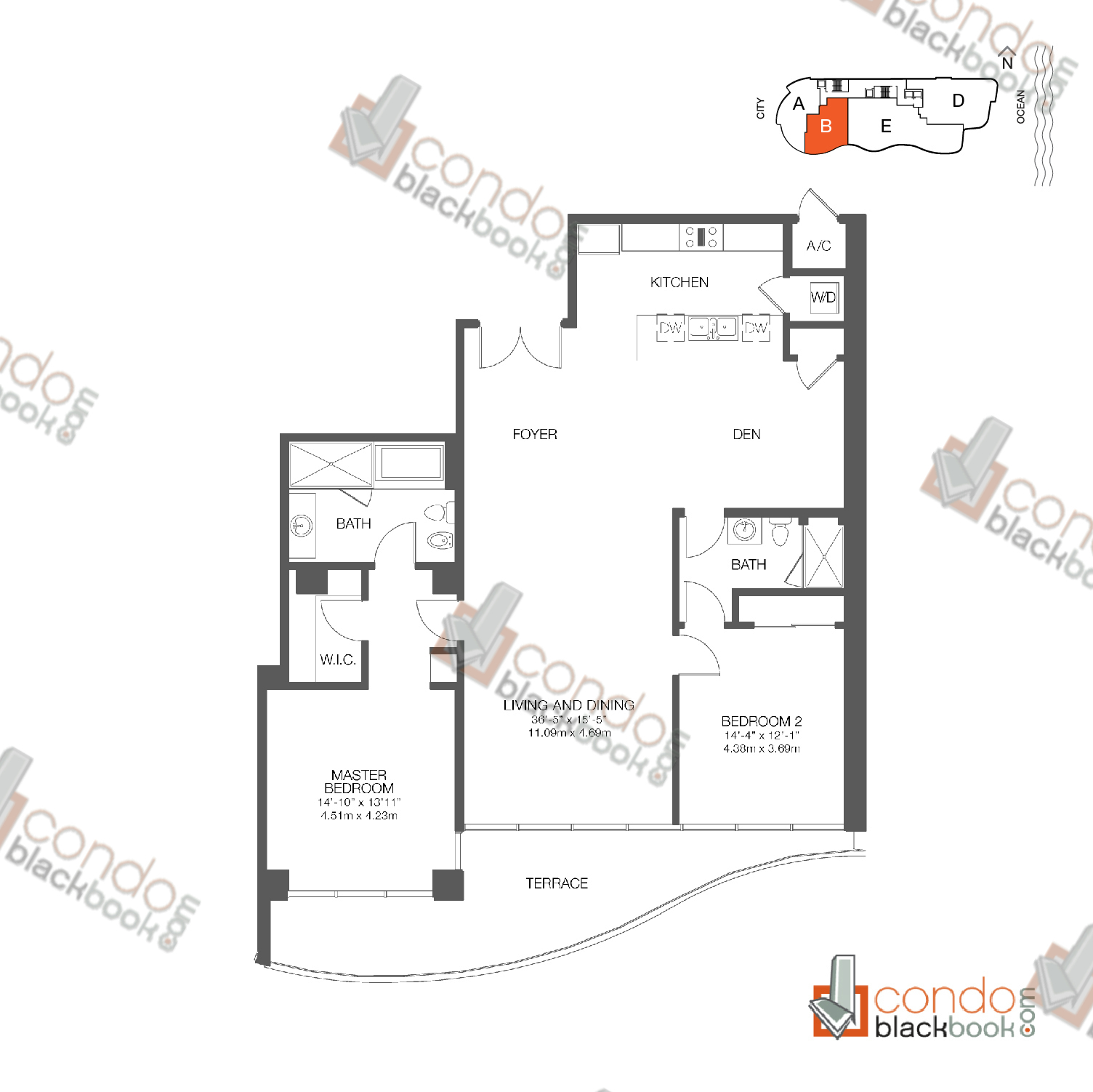 Floor plan for Chateau Beach Residences Sunny Isles Beach, model Residence B, line 02, 2/2 + Den bedrooms, 1,662 sq ft