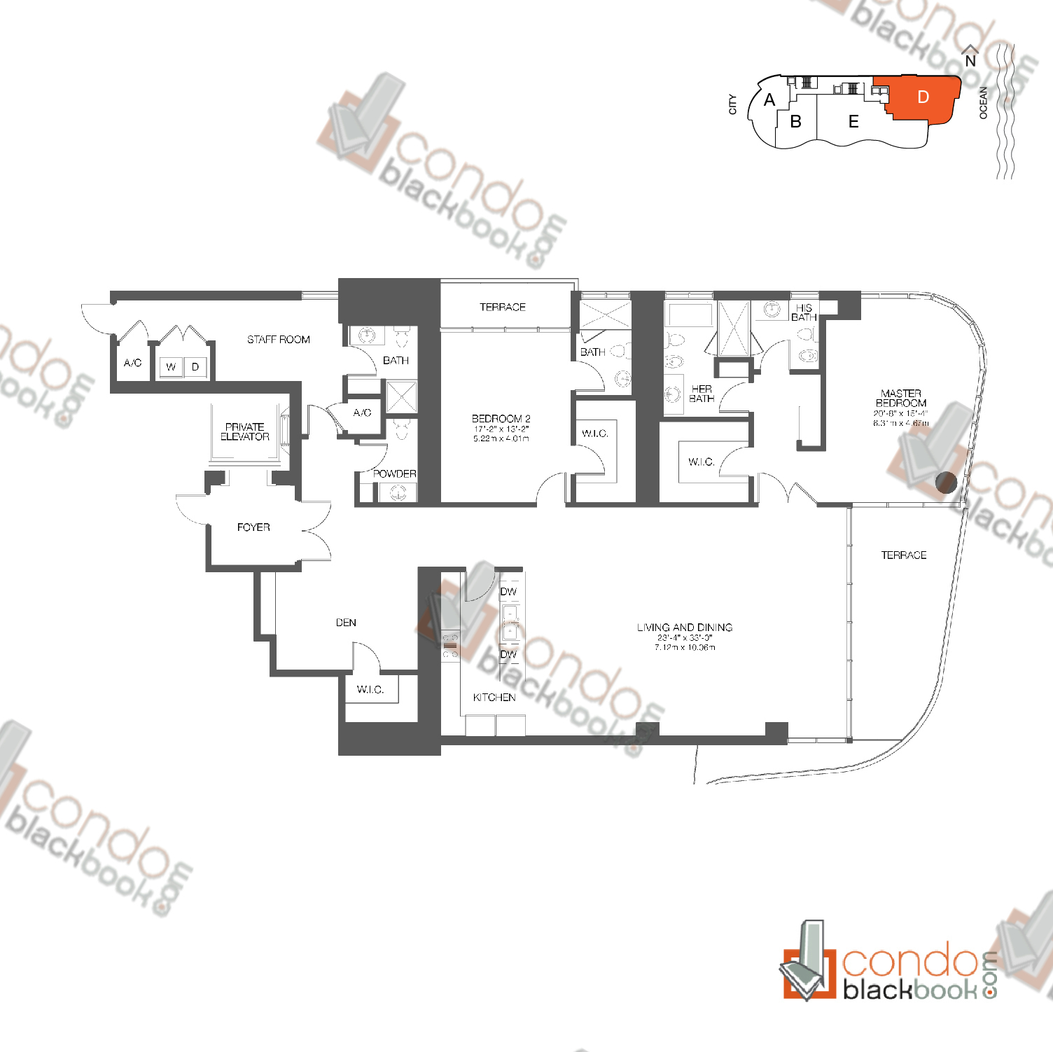 Floor plan for Chateau Beach Residences Sunny Isles Beach, model Residence D, line 03, 2/4.5 + Den bedrooms, 2,819 sq ft