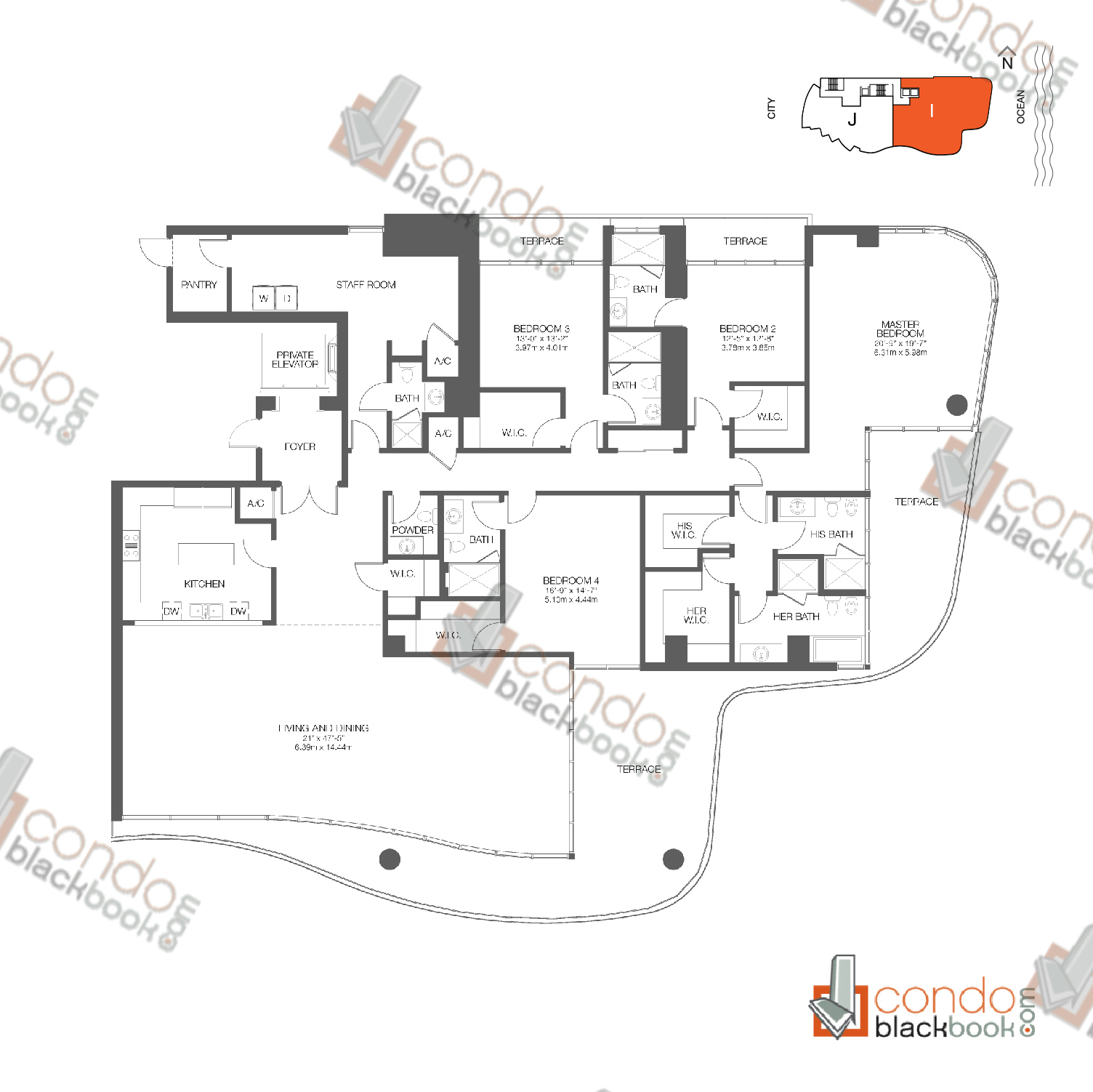 Floor plan for Chateau Beach Residences Sunny Isles Beach, model Residence I, line 06, 4/6.5 bedrooms, 4,230 sq ft
