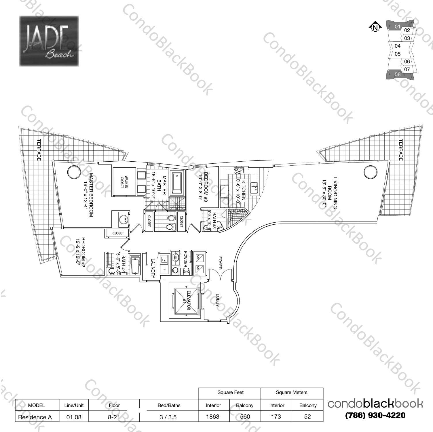 Floor plan for Jade Beach Sunny Isles Beach, model Residence A, line 01,08, 3 / 3.5 bedrooms, 2035 sq ft