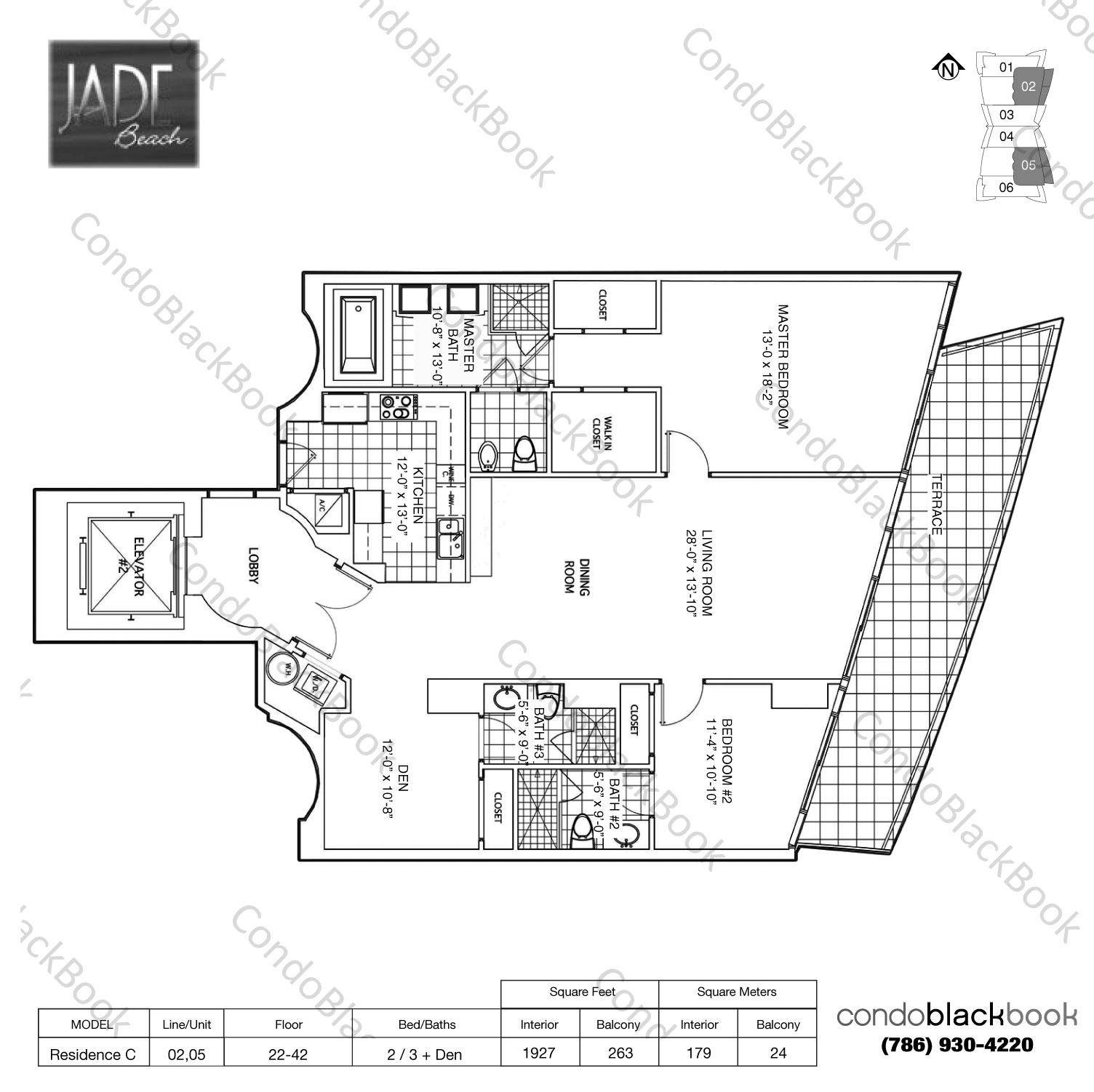 Floor plan for Jade Beach Sunny Isles Beach, model Residence C, line 02,05, 2 / 3 + Den bedrooms, 1616 sq ft